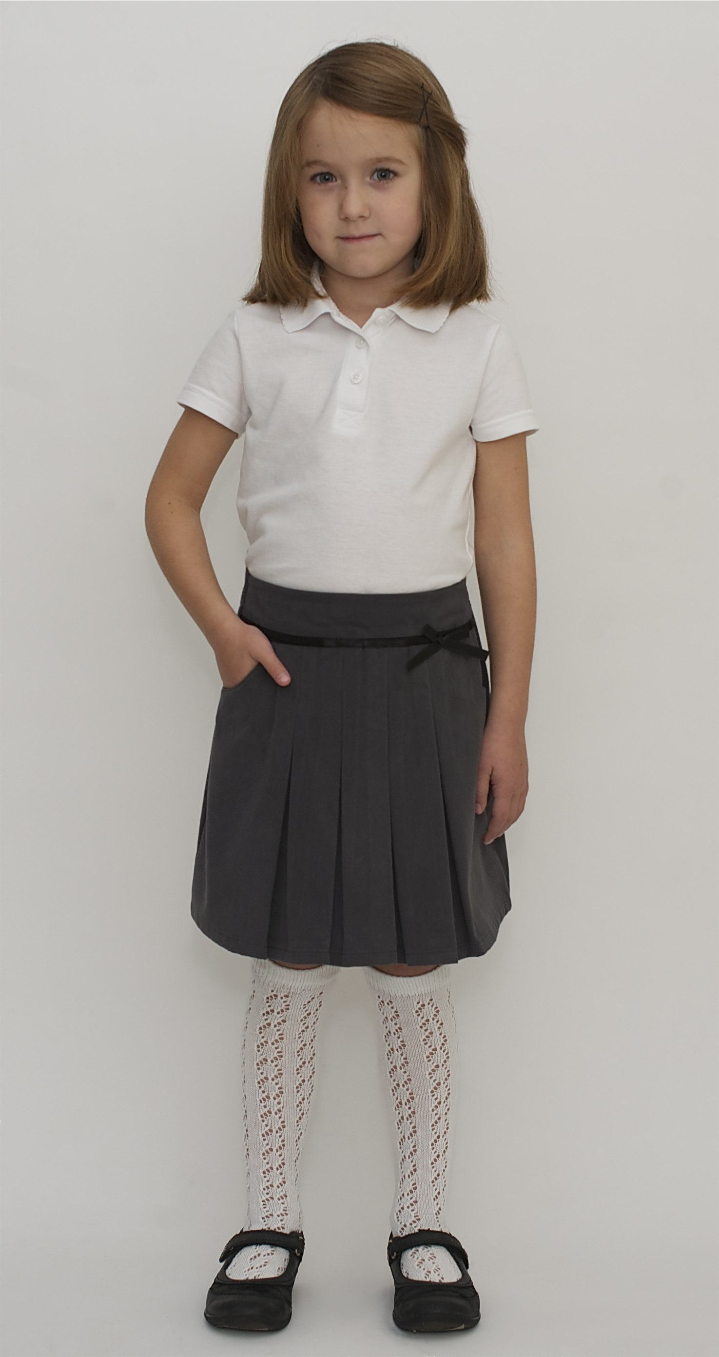 Girls' Two-Tab Pleated Scooter